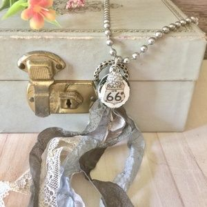 """18"""" Route 66 Vintage Fabric Tassel Necklace"""